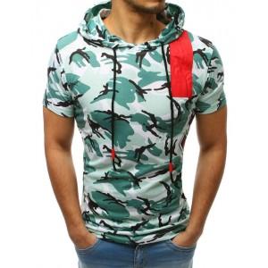 Originální pánské tričko světle zelené s kapucí a trendy potiskem