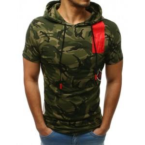 Stylové pánské zelené maskáčové tričko s kapucí