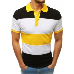 Trendy dámské černo-žluté pánské tričko s límečkem a krátkým rukávem