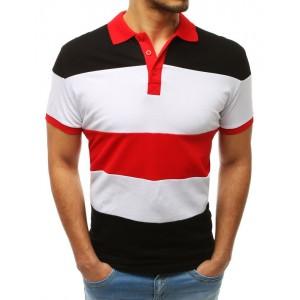 Módní pánské polo tričko s límečkem s bílo černo červenou kombinaci
