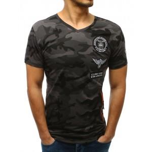Originální pánské maskáčové tričko v grafirovej barvě a s nášivkami