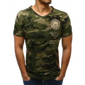 Pohodlné a trendy pánské maskáčové tričko s designovým zipem na boku