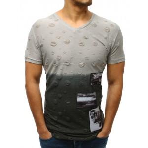 Světle šedé pánské tričko s krátkým rukávem s trendy dírami a záplatami
