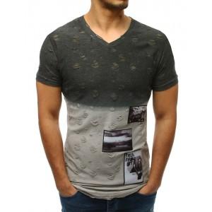 Moderní pánské tričko šedé s výstřihem do V s dírou a trendy záplatami