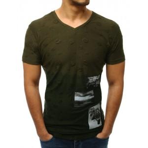 Pánské zelené tričko prodloužené s trendy záplaty