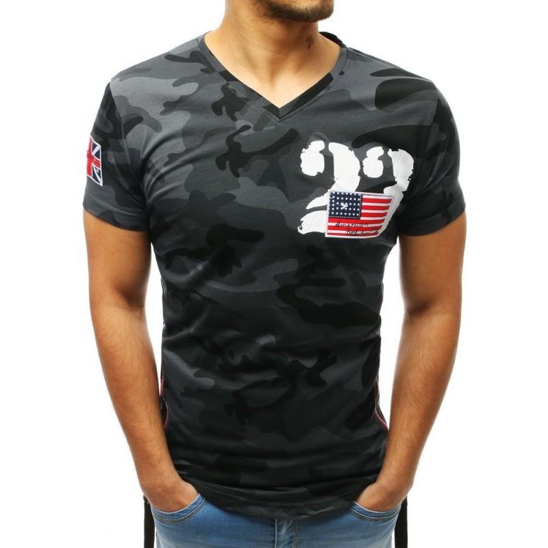 031de6b2c7ba Šedé maskáčové prodloužené pánské tričko s trendy zipy