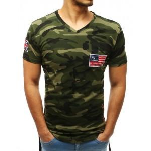 Stylové pánské maskáčová tričko s V výstřihem a trendy bočními zipy