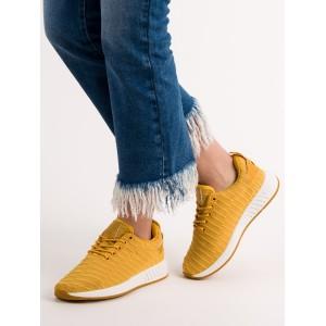 Dámské placené tenisky ve žluté barvě