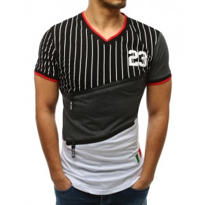 Stylové černé proužkované pánské tričko s designovými předními zipy