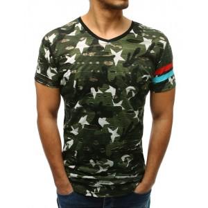 Trendy pánské zelené maskáčové prodloužené tričko s potiskem hvězd