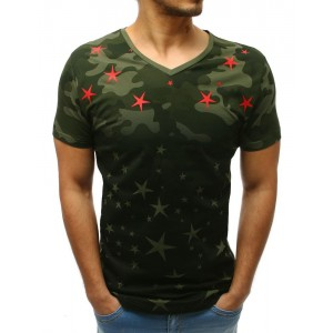 Moderní pánské zelené tričko s potiskem hvězd a designovými zipy