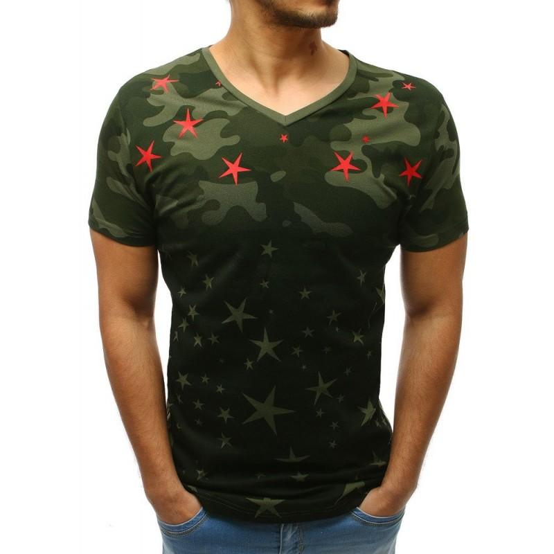 70d1ab95859e Moderní pánské zelené tričko s potiskem hvězd a designovými zipy