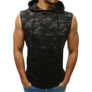 Stylové pánské maskáčové tričko tmavě šedé bez rukávů a s kapucí