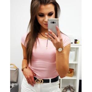 Romantické jednobarevné růžové dámské tričko s krátkým rukávem