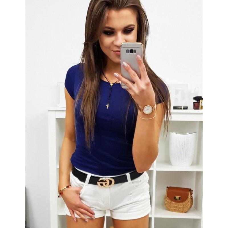 b021399d6def Dámské jednobarevné tričko s krátkým rukávem v granátově modré barvě