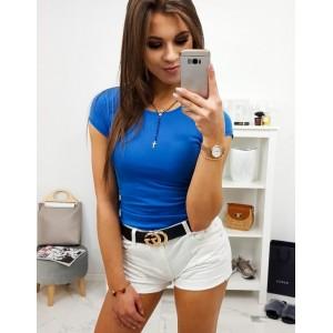 Krásné jednobarevné dámské modré tričko s kulatým výstřihem