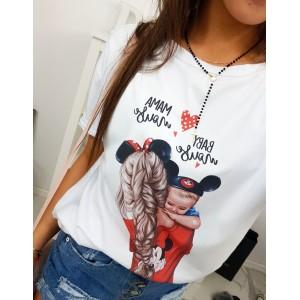 Originální dámské tričko s barevným potiskem máma s dítětem