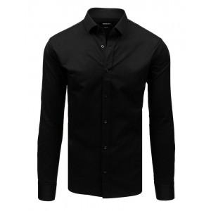 Elegantní pánská černá košile s dlouhým rukávem a zapínáním na knoflíky