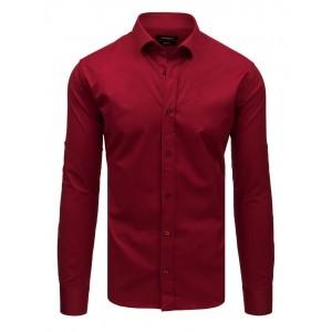 Originální bordó slim fit jednobarevná pánská košile s dlouhým rukávem