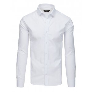 Společenská jednobarevná bílá slim fit košile