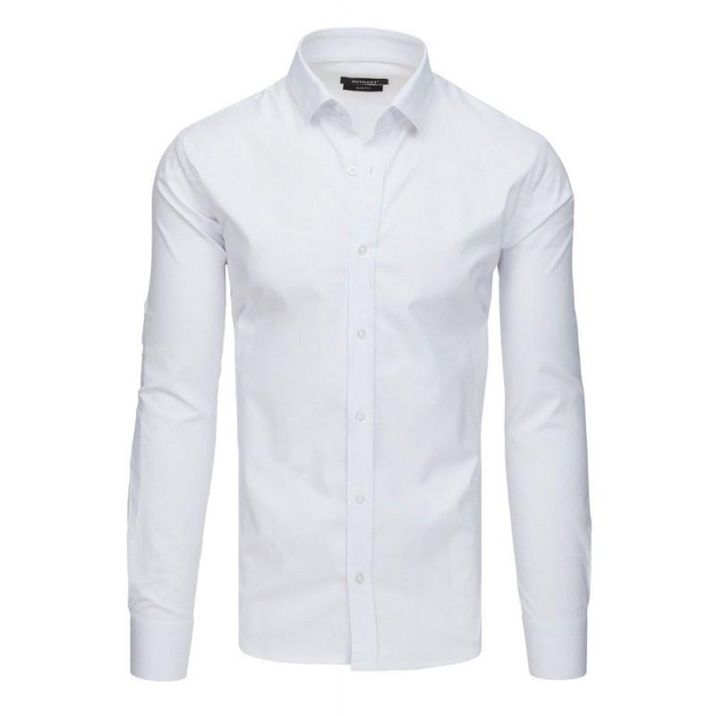 0a00db4cca7c Společenská jednobarevná bílá slim fit košile