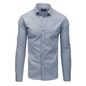 Jednobarevná světle šedá slim fit košile se zapínáním na knoflíky