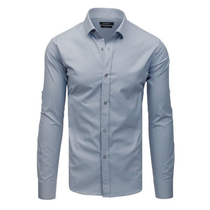 d9b316271313 Jednobarevná světle šedá slim fit košile se zapínáním na knoflíky