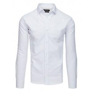 Stylová pánská bílá košile se zapínáním na knoflíky a dlouhým rukávem