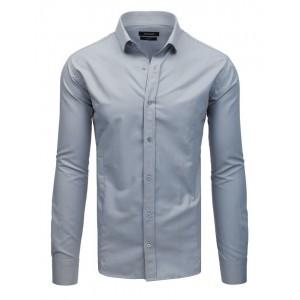 Pánská světle šedá slim fit pánská košile se zapínáním na knoflíky
