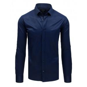 Elegantní tmavě modrá pánská košile se zapínáním na knoflíky