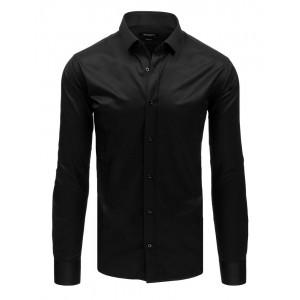 Slim fit pánská košile černá se zapínáním na knoflíky