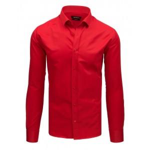 Pánská společenská ostře červená košile s dlouhým rukávem