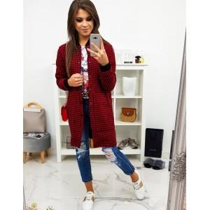 Stylový dámský červený kabát kostkovaný se zapínáním na druky
