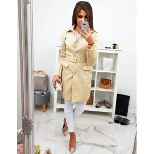 Stylový dámský krémový přechodný kabát rovného střihu na knoflíky