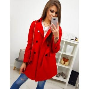 Dámský červený jarní kabát s dvouřadým zapínáním a páskem