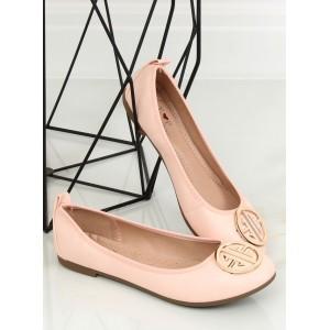 6cd9d5b1ed5a Pudrově růžové dámské baleríny s velkou ozdobnou zlatou sponou