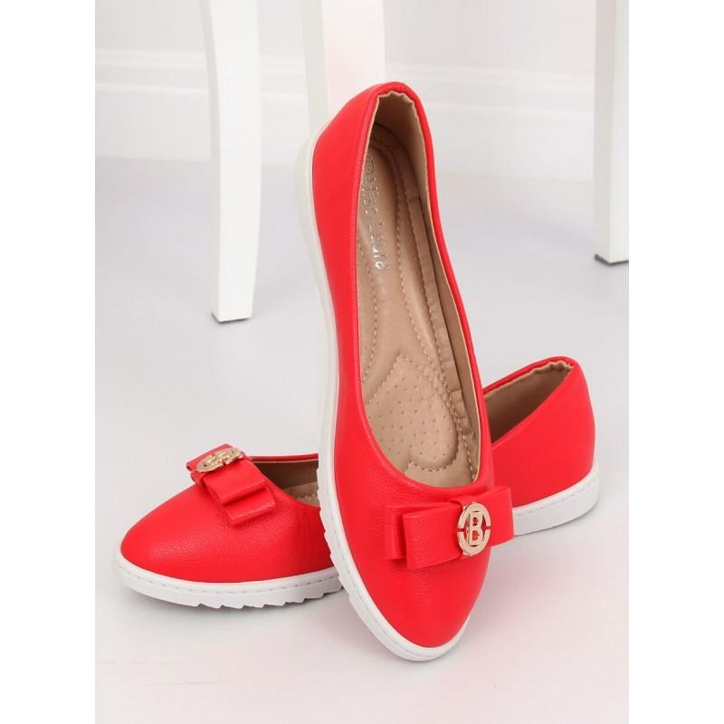 b3f0bf93d Stylové dámské červené balerínky s ozdobnou zlatou sponou