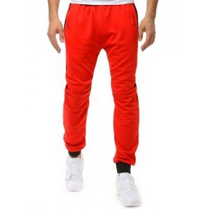 Stylové pánské červené tepláky se zdrhovací gumou v pase i nohách