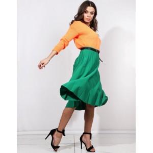 Originální dámská plisovaná zelená sukně pod kolena