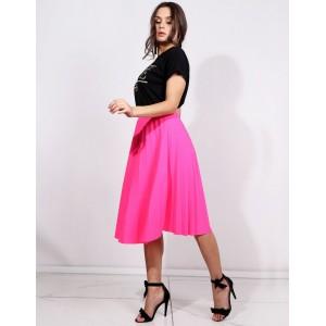 Módní letní neonově růžová dámská plisovaná sukně pod kolena