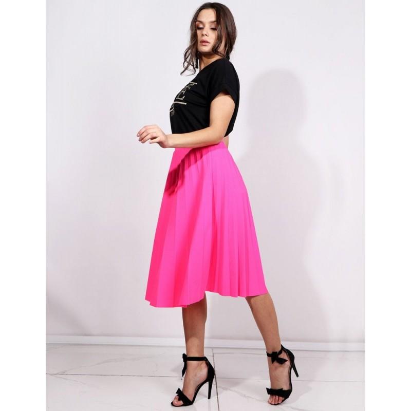 04f351fbd571 Módní letní neonově růžová dámská plisovaná sukně pod kolena