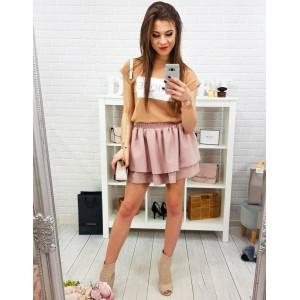 Štýlová mini dámska púdrovo ružová sukňa s nariasením