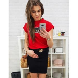 Stylová dámská černá mini sukně se zapínáním na knoflík a zip