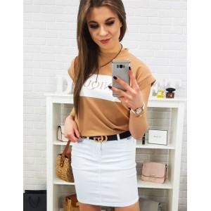 Dámská letní bílá mini sukně se zapínáním na zip a knoflík