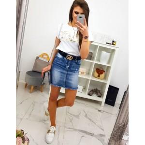 Trendy dámská mini riflová sukně se zapínáním na zip a knoflík