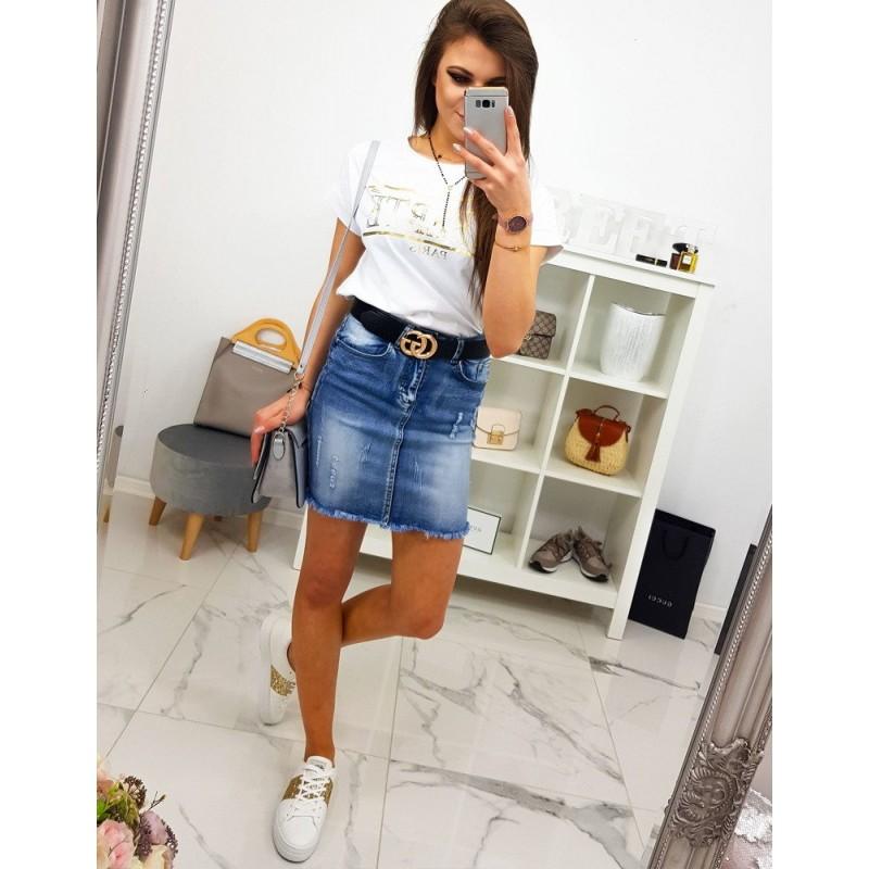 0257a81de89d Trendy dámská mini riflová sukně se zapínáním na zip a knoflík