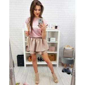 Béžová dámská letní mini sukně s nařasením