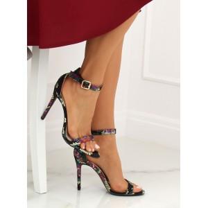 Elegantní dámské černé orientální sandály na vysokém podpatku