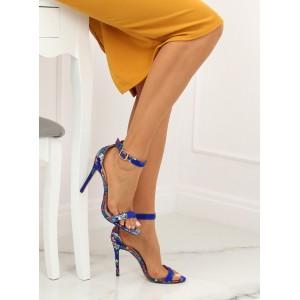 Orientální dámské společenské sandály v modré barvě se vzorem květin