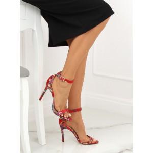 Společenské dámské červené orientální sandály na vysokém podpatku